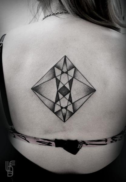 Back Dotwork Geometric Abstract Tattoo by Luciano Del Fabro