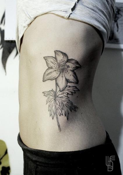 Flower Side Dotwork Tattoo by Luciano Del Fabro