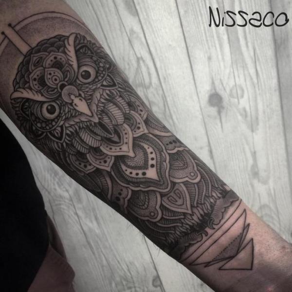 Arm Owl Dotwork Tattoo by Nissaco