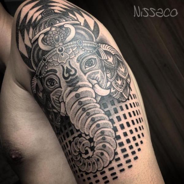 Arm Religious Dotwork Tattoo by Nissaco