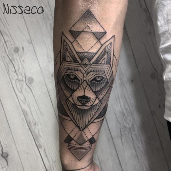 Arm Wolf Dotwork Tattoo by Nissaco