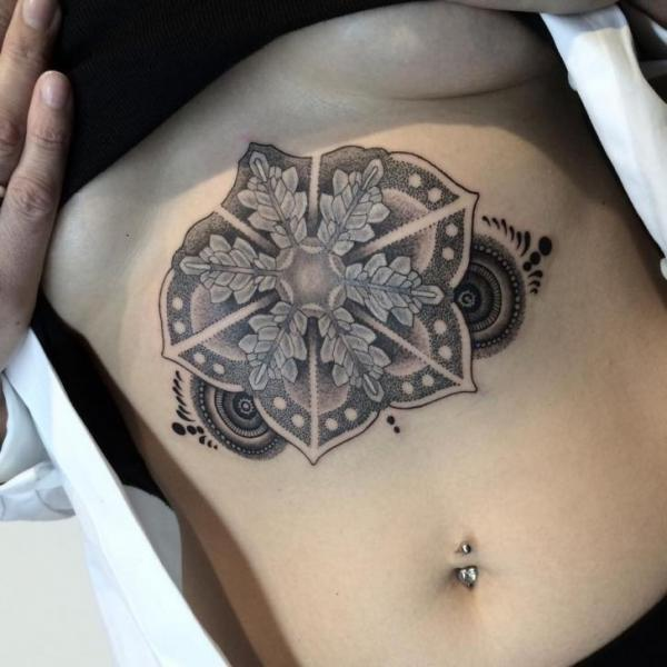 Belly Dotwork Mandala Tattoo by Nissaco