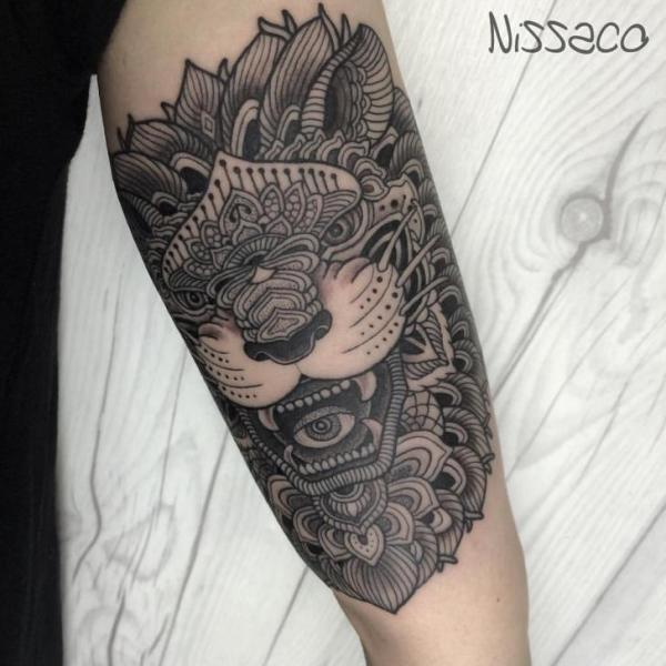 Lion Dotwork Tattoo by Nissaco