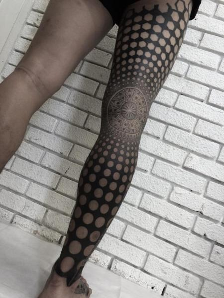 Leg Dotwork Abstract Tattoo by Nissaco