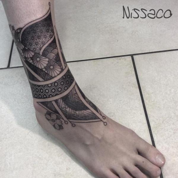 Foot Leg Dotwork Tattoo by Nissaco
