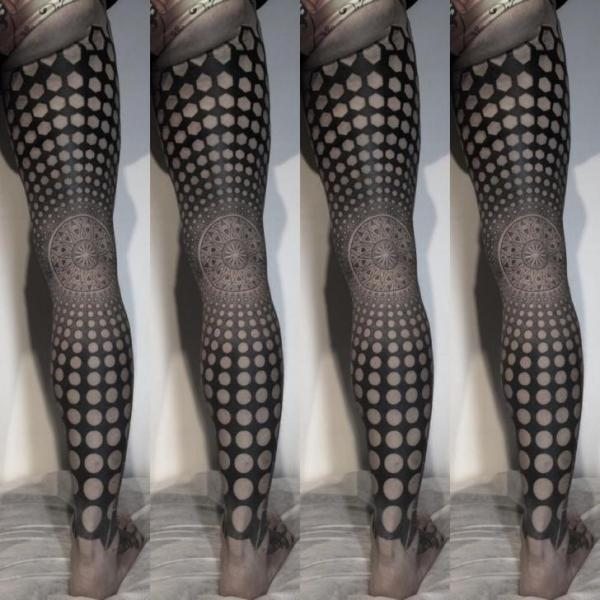 Leg Dotwork Geometric Tattoo by Nissaco