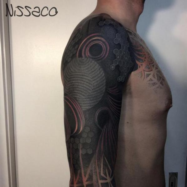 Shoulder Sleeve Abstract Tattoo by Nissaco
