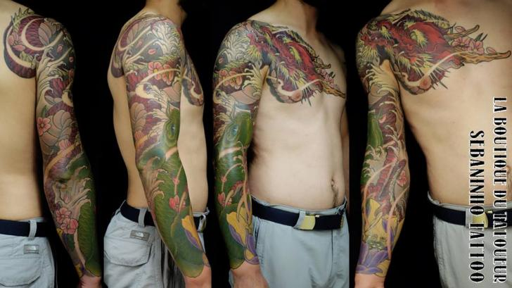 Shoulder Chest Japanese Dragon Sleeve Tattoo by Sebaninho Tattoo