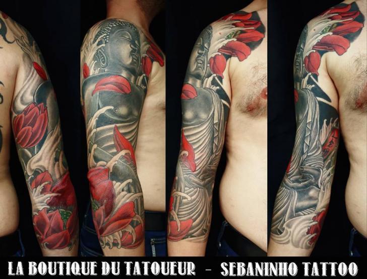 Japanese Buddha Sleeve Tattoo by Sebaninho Tattoo