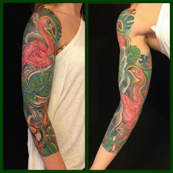 Flamingo Sleeve Tattoo by Dalmiro Tattoo