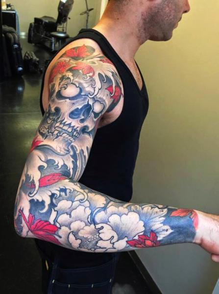 Flower Japanese Skull Sleeve Tattoo by Dalmiro Tattoo
