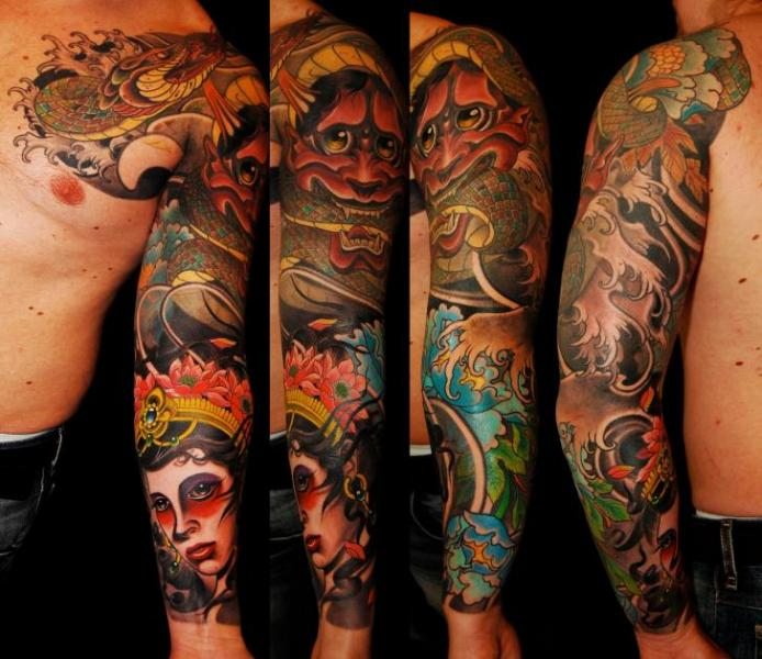 Snake Demon Sleeve Woman Tattoo by Dalmiro Tattoo