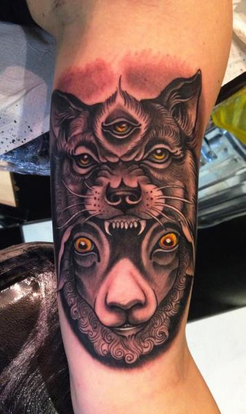Arm Wolf Sheep Tattoo by Dalmiro Tattoo