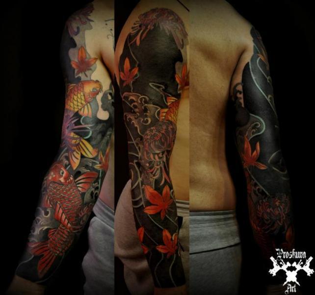 Japanese Carp Koi Sleeve Tattoo by Proskura Art