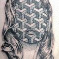 Thigh Abstract Woman tattoo by Parliament Tattoo