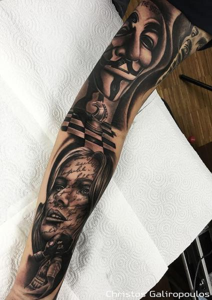Mask Chess Sleeve Woman Tattoo by El Loco Tattoo Lounge