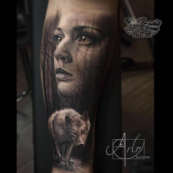 Arm Realistic Wolf Woman Tattoo by The Raw Canvas