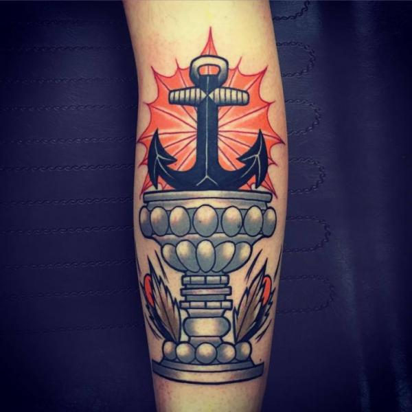 Arm New School Anchor Cup Tattoo by Solid Heart Tattoo
