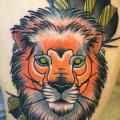Arm New School Lion tattoo by Solid Heart Tattoo