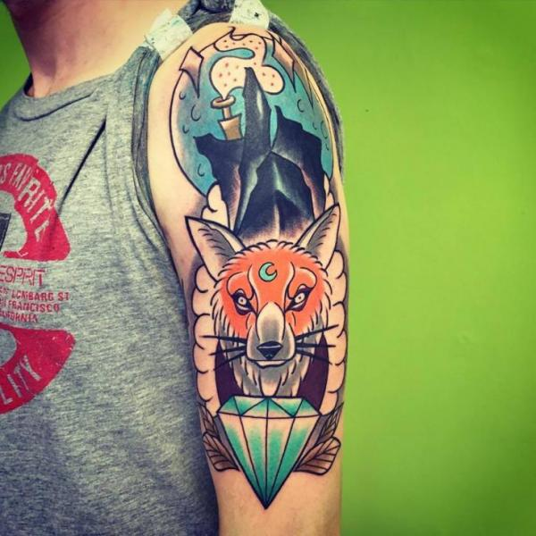 Arm Wolf Diamond Tattoo by Solid Heart Tattoo