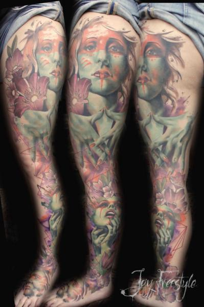 Leg Side Women Tattoo by Jay Freestyle