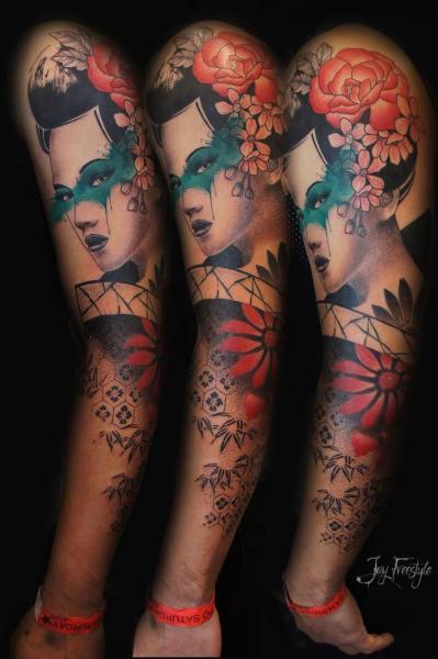 Geisha Sleeve Decoration Tattoo by Jay Freestyle