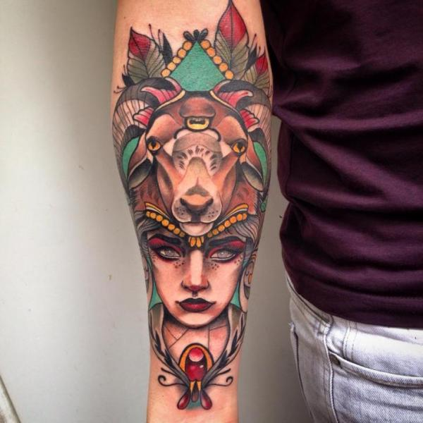 Arm Women Goat Tattoo by Blessed Tattoo