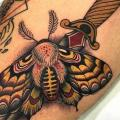 Dagger Moth Thigh tattoo by Blessed Tattoo
