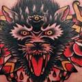 Chest Old School Wolf Dagger tattoo by Fontecha Iron