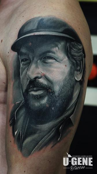 Arm Portrait Bud Spencer Tattoo by Voice of Ink