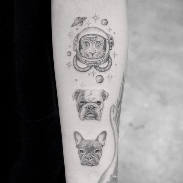 Arm Dog Dotwork Tattoo by Bang Bang