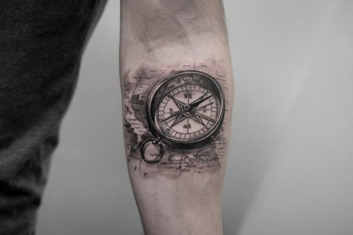 Arm Realistic Compass Tattoo by Bang Bang