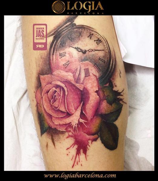 tatouage bras horloge fleur rose par logia barcelona. Black Bedroom Furniture Sets. Home Design Ideas