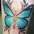 Butterfly Thigh tattoo by Logia Barcelona
