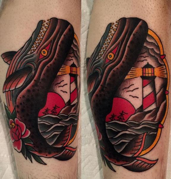 Arm New School Lighthouse Whale Tattoo by Kings Avenue Tattoo