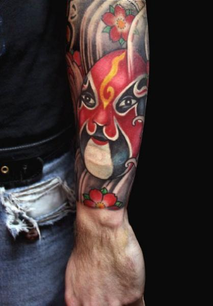 Japanese Mask Tattoo by Dirty Roses
