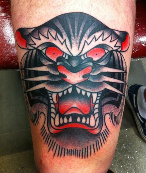 arm old school tiger tattoo von avinit tattoo. Black Bedroom Furniture Sets. Home Design Ideas