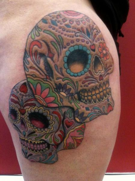 Tatouage cr ne mexicain par avinit tattoo - Tattoo crane mexicain ...