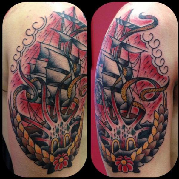 shoulder old school galleon tattoo by avinit tattoo. Black Bedroom Furniture Sets. Home Design Ideas