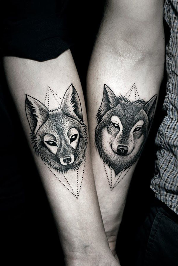 Couple tattoo: wolf
