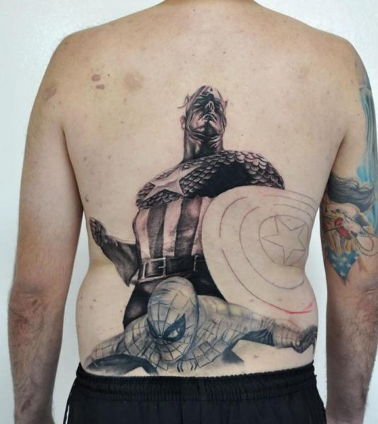 Fantasy Back Captain America Tattoo by Tattoo Shimizu