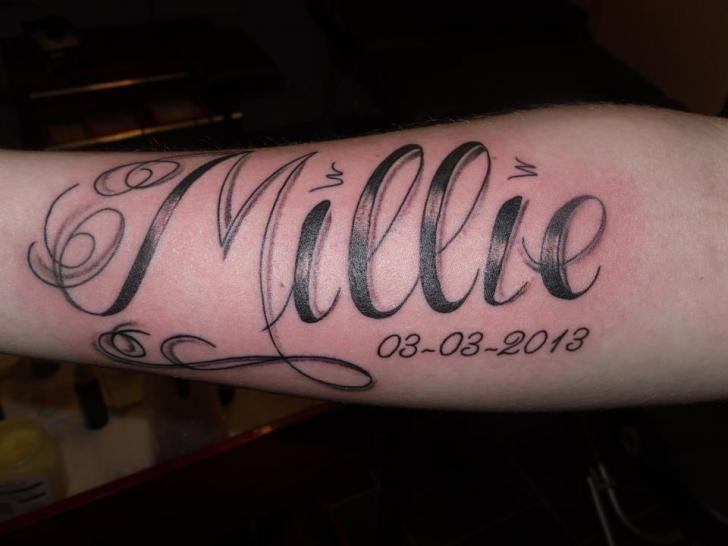 Arm Lettering Tattoo by Dezign Tattoo