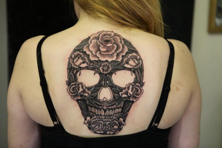 Skull Back Tattoo by Diamond Jacks