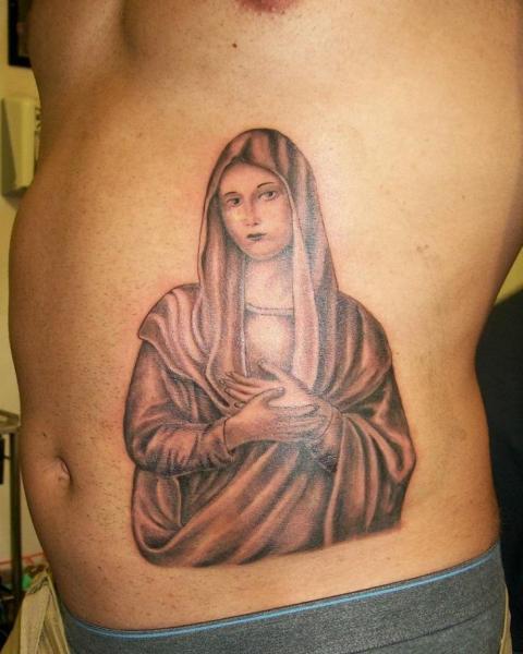 Side Religious Madonna Tattoo by Diamond Jacks