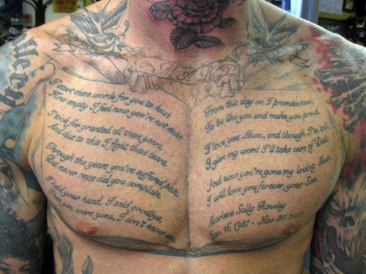 Leuchtturm Brust Buch Tattoo von Dna Tattoo