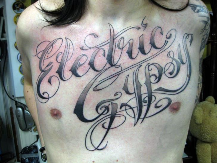Chest Lettering Tattoo by Dna Tattoo