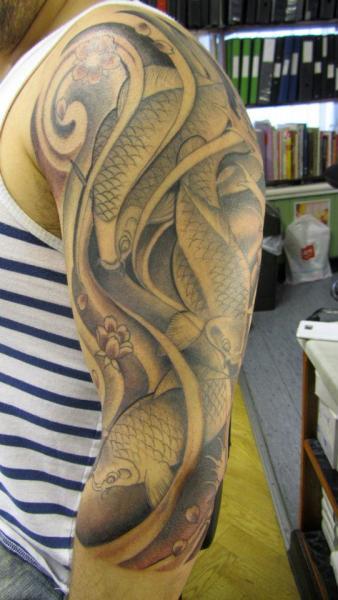 Shoulder Japanese Carp Koi Tattoo by Dna Tattoo