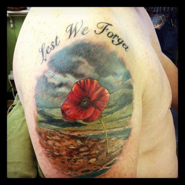 Shoulder Realistic Flower Tattoo by Dna Tattoo