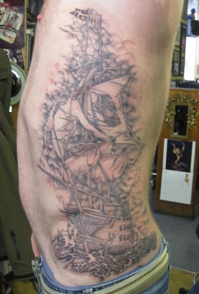 Realistic Side Galleon Tattoo by Dna Tattoo