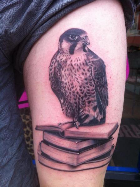 Arm Eagle Book Tattoo by Dragstrip Tattoos